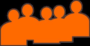 Orange silhuet af gruppe